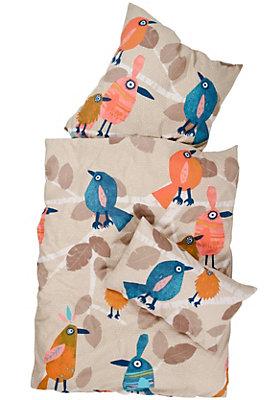 """Bettwäsche - Kinderbettwäsche """"Vogelbande"""" aus reiner Bio-Baumwolle"""