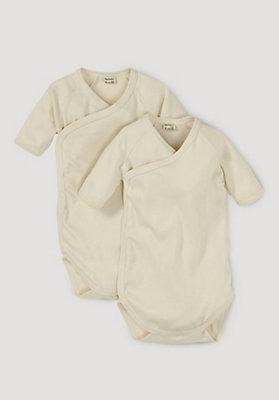- Kurzarm-Wickelbody aus reiner Bio-Baumwolle, 2er-Set