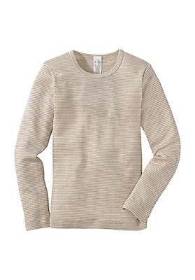 - Langarmhemd aus Schurwolle mit Seide