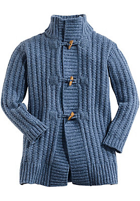 schulanfang - Lange Strickjacke aus reiner Schurwolle