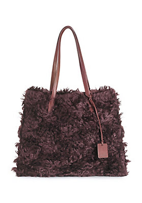 - Leder-Tasche mit Mohair-Webpelz