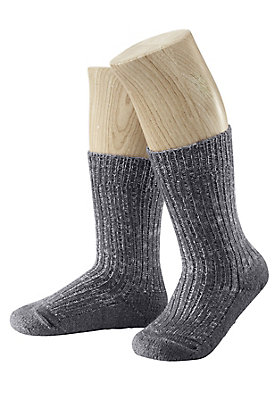 Strümpfe - Melangesocke aus Schurwolle mit Leinen