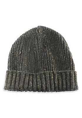 - Tweed-Strickmütze aus reiner Schurwolle