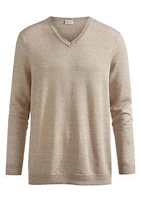 - V-Pullover aus Leinen mit Schurwolle