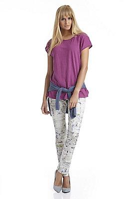 - Bedruckte Hose aus Bio-Baumwollsatin
