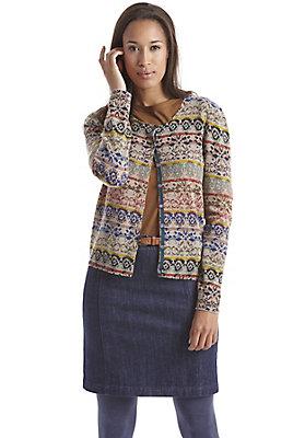 schurwolle-damen - Bedruckte Strickjacke aus Schurwolle mit Kaschmir