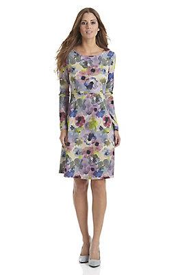 trend-fruehling-aquarell - Bedrucktes Jersey-Kleid aus reiner Bio-Baumwolle