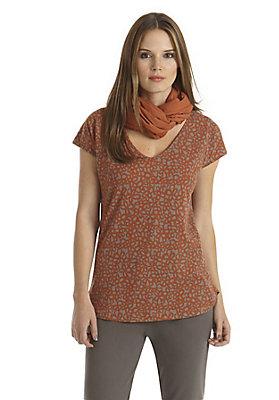 - Bedrucktes Shirt aus Bio-Baumwolle mit Leinen