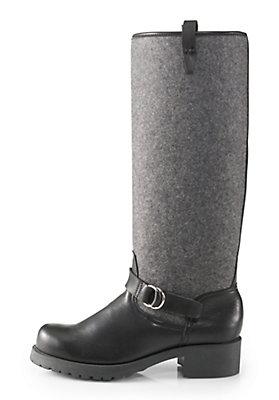 - Damen Leder-Stiefel mit Wollfilz