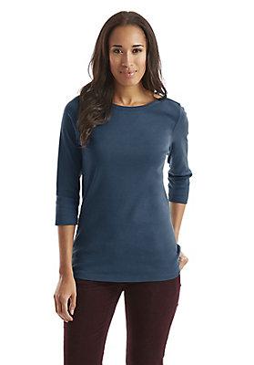 - Damen Shirt mit U-Boot-Ausschnitt aus reiner Bio-Baumwolle