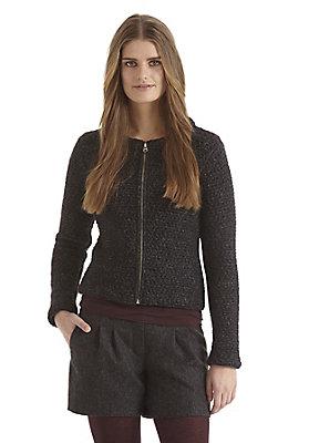- Damen Strickjacke aus Schurwolle mit Leinen