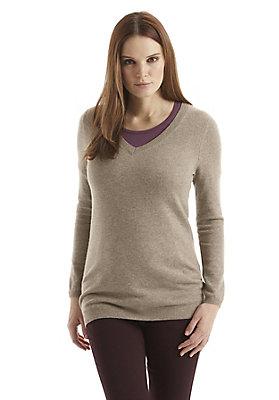 - Damen V-Pullover aus Schurwolle mit Kaschmir