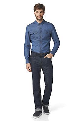 - Denimhemd Slim Fit aus reiner Bio-Baumwolle