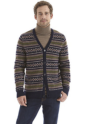 Pullover-und-Strickjacken Herren - Gemusterter Cardigan aus reiner Schurwolle