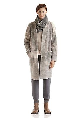 - Gemusterter Wollfleece-Mantel aus reiner Bio-Merinowolle