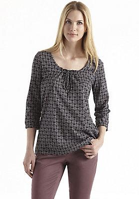 Blusen - Gemusterterte Bluse aus reiner Bio-Baumwolle