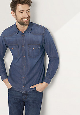 - Herren Jeanshemd Modern Fit aus reiner Bio-Baumwolle