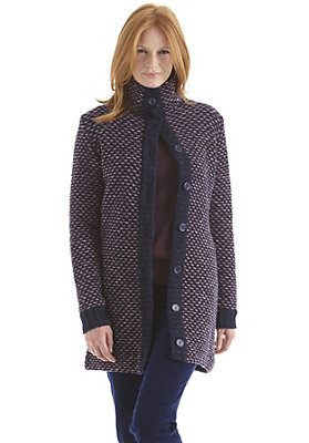 kw37-damenbekleidung-jacken-maentel - Jacquard Mantel aus reiner Schurwolle