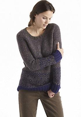 herbst-trends-2014-oversized-look - Jacquard Pullover aus Alpaka mit Schurwolle