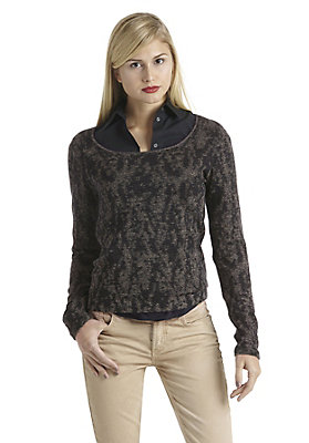 - Jacquard-Pullover aus Bio-Baumwolle mit Leinen