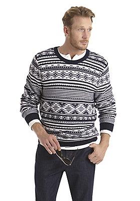 neu-herren-bekleidung - Jacquard-Pullover aus reiner Bio-Baumwolle