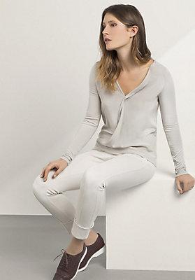 - Jersey-Bluse aus Modal mit Seiden-Crêpe