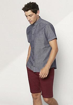 - Kurzarmhemd Modern Fit aus Bio-Baumwolle mit Leinen