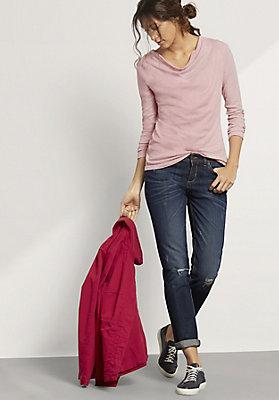 - Langarm-Shirt aus Bio-Baumwolle mit Schurwolle