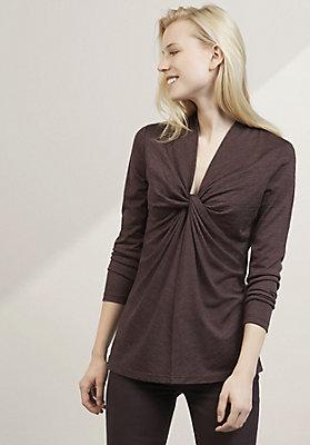 - Langarm-Shirt aus Bio-Schurwolle mit Seide