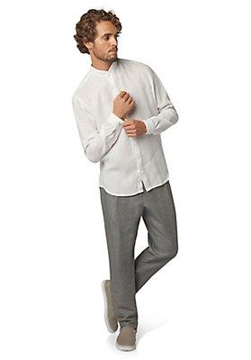- Langarmhemd mit Stehkragen aus reinem Leinen