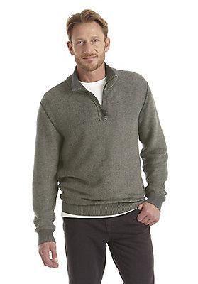 - Pullover mit Zipkragen aus reiner Bio-Baumwolle
