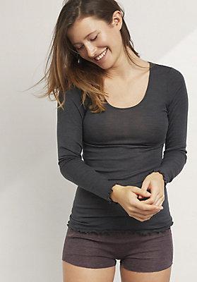 - Shirt aus Bio-Merinowolle mit Seide