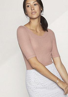 - Shirt aus Modal mit Schurwolle