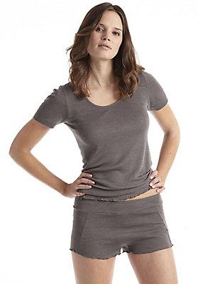 - Shorts aus Bio-Merinowolle mit Seide