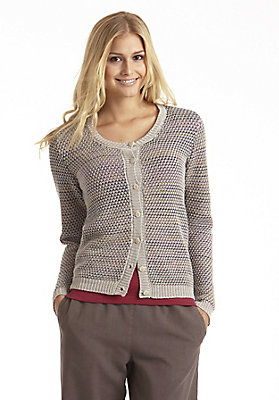Jacken - Strickjacke aus Baumwolle mit Leinen