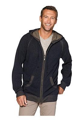 Pullover-und-Strickjacken Herren - Strickjacke mit Kapuze aus reiner Bio-Baumwolle