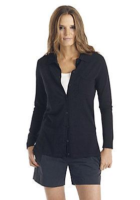 Pullover-und-Strickjacken Damen - Strickjacke mit Polokragen aus reiner Bio-Schurwolle