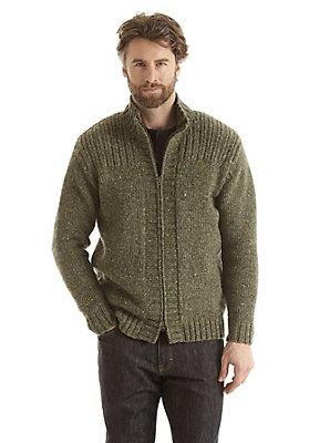 - Tweed-Strickjacke aus reiner Schurwolle
