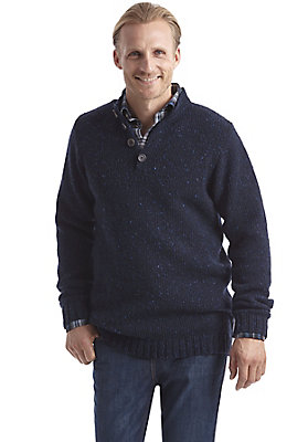 herrenkollektion-in-blau - Tweedpullover aus reiner Schurwolle