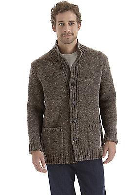 - Tweedstrickjacke aus reiner Schurwolle