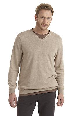 neu-herren-bekleidung - V-Pullover aus Leinen mit Schurwolle