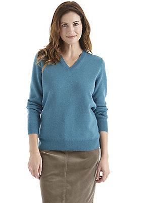 herbst-basics - V-Pullover aus reiner Schurwolle