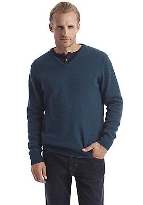 herrenkollektion-in-blau - V-Pullover aus reiner Schurwolle