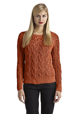 - Zopfmuster-Pullover aus reiner Bio-Baumwolle