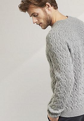 - Zopfmuster-Pullover aus reiner Schurwolle