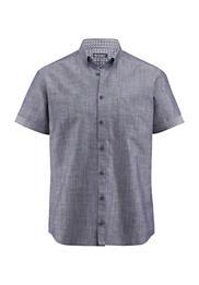 Herren Kurzarm-Hemd Modern Fit aus Bio-Baumwolle mit Leinen