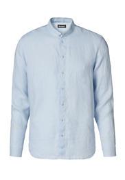 Langarmhemd mit Stehkragen aus reinem Leinen