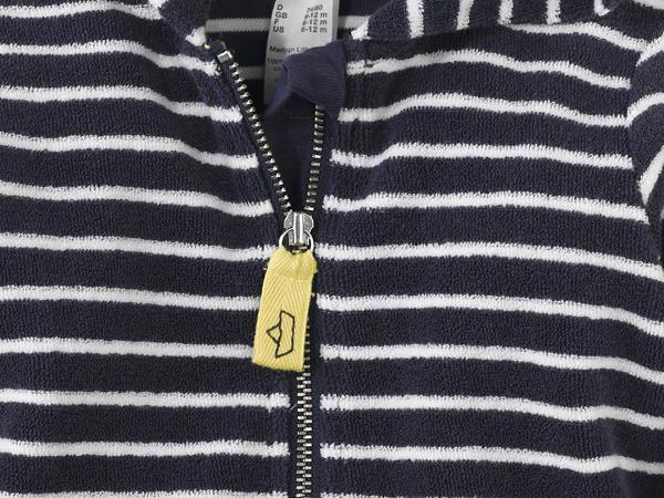 Gestreifte Frottee Jacke aus reiner Bio-Baumwolle
