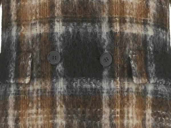 Karo-Mantel aus Mohair mit Schurwolle