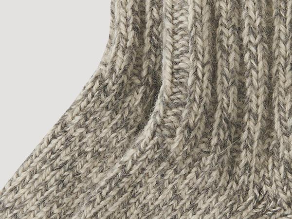 Knitted sock made from pure organic merino wool